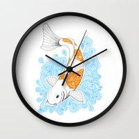 koi fish Wall Clocks featuring Koi fish  by Art & Be