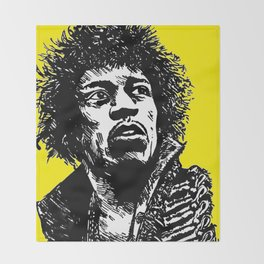 Jimi Hendrix Pop-Art (Yellow) Throw Blanket