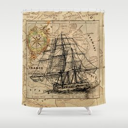 VINTAGE EUROPEAN MAP & SHIP Shower Curtain