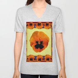 This design is all about the ORANGE PANSIES ON YELLOW COLOR DESIGN ART decor, furnishings, or for th Unisex V-Neck