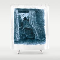 peter pan Shower Curtains featuring peter pan by jenapaul