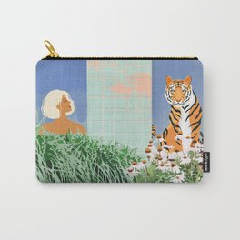 Love Thy Neighbor, Bohemian Brown  Blonde Woman Tiger Quirky Eclectic Tropical Architecture Carry-All Pouch