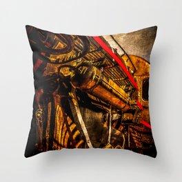 Vintage Steam Engine Locomotive - Grandfather Of A Spacecraft Throw Pillow