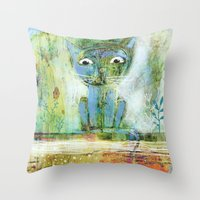 fishing Throw Pillows featuring fishing by Agnes Laczo
