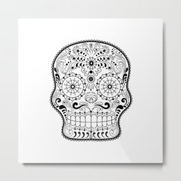 Black and White Sugar Skull Metal Print