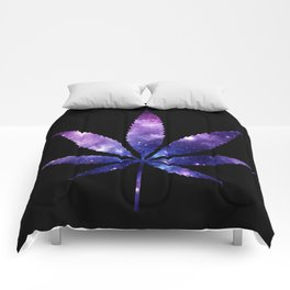 Weed : High Times purple blue Galaxy Comforters