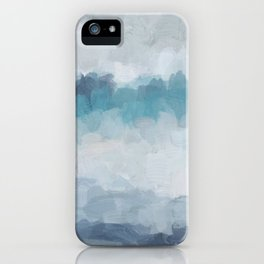 Aqua Teal Turquoise Sky Blue White Gray Abstract Art Modern Painting iPhone Case