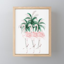 Three Flamingos Framed Mini Art Print