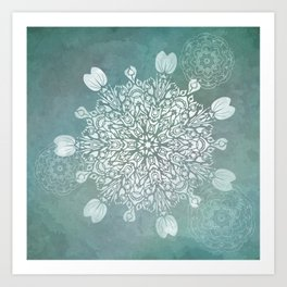 Turquoise Batik Mandala Float Art Print