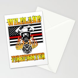 Wildland Firefighter Hero Thin Red Line Smokejumper Gift Stationery Cards