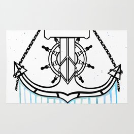 Anchor and Steering Helm [Watercolor] Rug
