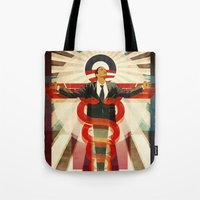 obama Tote Bags featuring Obama Care by BradleyDean