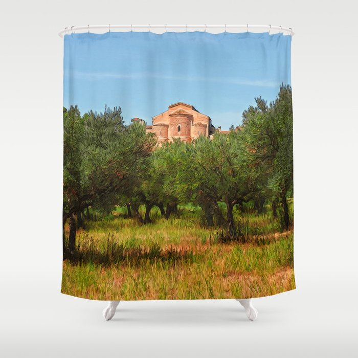 Medieval Abbey Among Olive Trees In Italy Shower Curtain