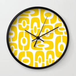 Mid Century Modern Cosmic Abstract 231 Yellow Wall Clock