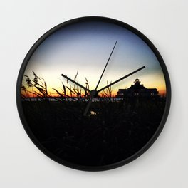 Lighthouse at Sunset Wall Clock