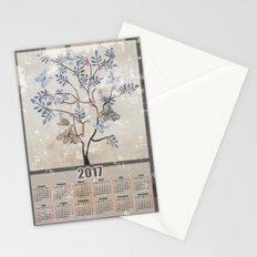 Calendar 2017 .birds on the tree . Stationery Cards