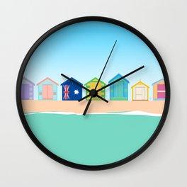 Brighton Beach Bathing Boxes, Melbourne, Australia Wall Clock
