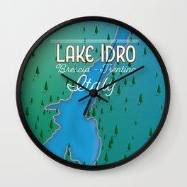 Lake Idro Italy travel poster Wall Clock