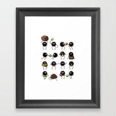 Susuwatari family Framed Art Print