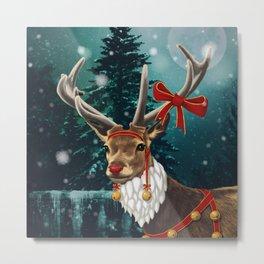 Christmas deer Rudolph Metal Print