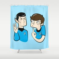 spock Shower Curtains featuring Spock You by Constance Harvey