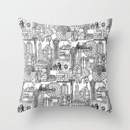 Seattle black white Throw Pillow