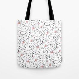 Decker Sleeps, a cat tessellation Tote Bag