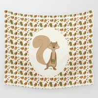 squirrel Wall Tapestries featuring Squirrel by Jane Mathieu