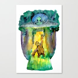 alien and sloth in the forest Canvas Print