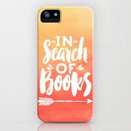 In Search of Books + Peach Inverse iPhone Case