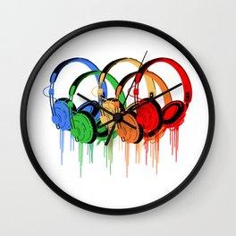 Colorful Headphones Wall Clock