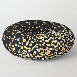 Floating Dots - White and Gold on Black Floor Pillow