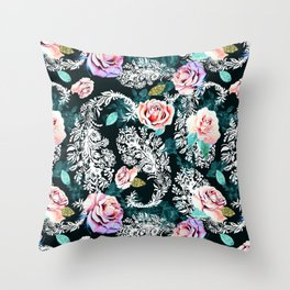 Dark pattern of flowers and paisley Throw Pillow