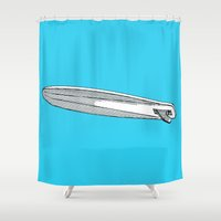 surfboard Shower Curtains featuring surfboard blue by Eyecatchingdesigns