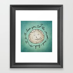 I Love You To The Moon And Back (blue) Framed Art Print