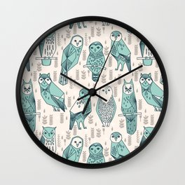 Parliament of Owls - Pale Turquoise by Andrea Lauren Wall Clock