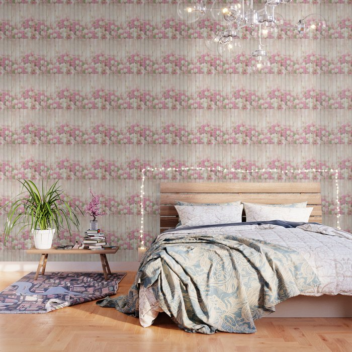 Beautiful Pink Tulip Floral Vintage Shabby Chic Wallpaper by ...