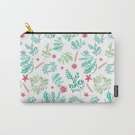 Red and Green Christmas leaves patterm Carry-All Pouch