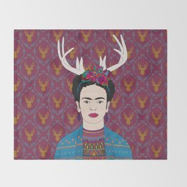 DEER FRIDA Throw Blanket