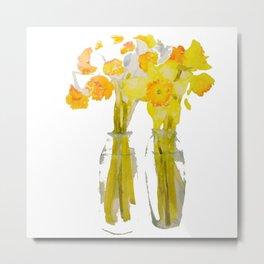 Daffodils watercolor Metal Print