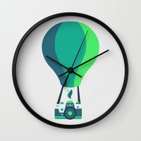 baloon Wall Clocks featuring Camera-baloon by GioDesign