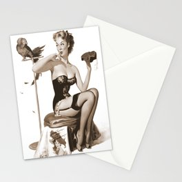 No You Don't by Gil Elvgren Sepia Pin Up Girl Stationery Cards