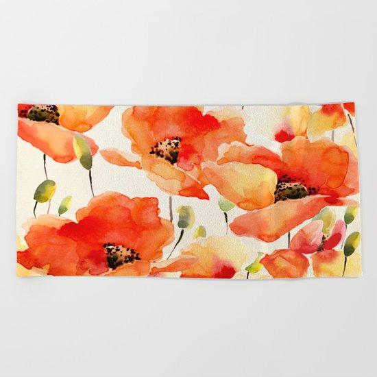 Poppy Flower Meadow- Floral Summer lllustration Beach Towel