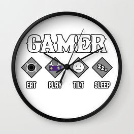 gamer saying tag online game computer teenager gift live daily Wall Clock