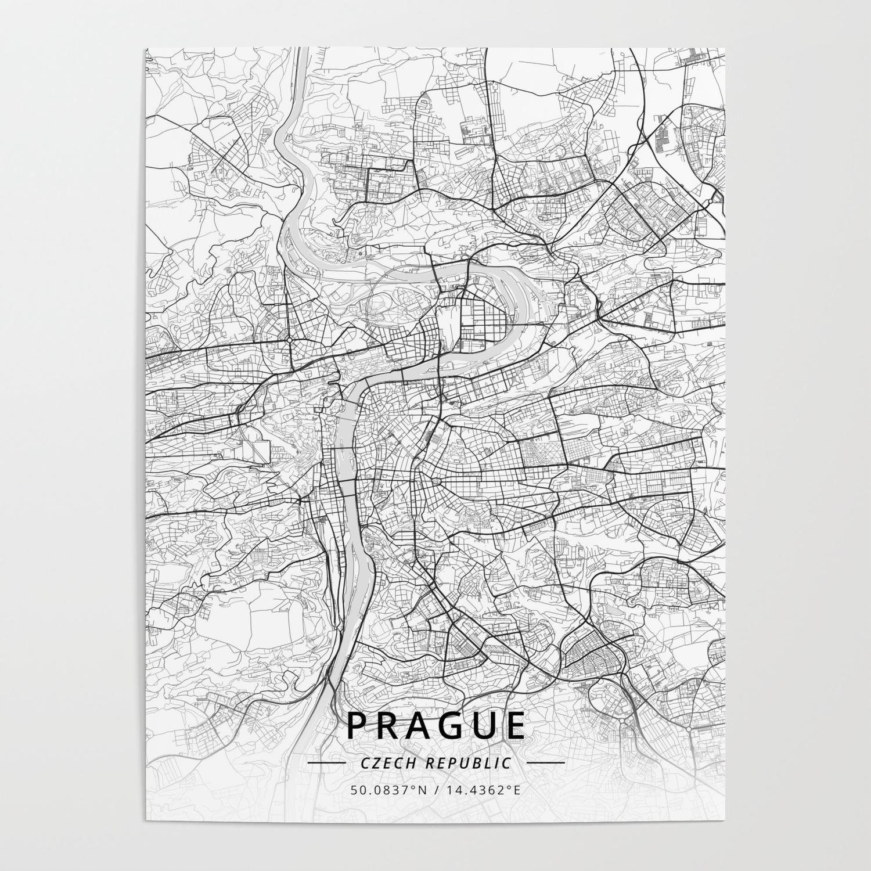 Prague, Czech Republic - Light Map Poster by designermapart
