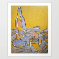 Still Life (Yellow, Blue, Red) Art Print