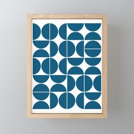 Mid Century Modern Geometric 04 Blue Framed Mini Art Print