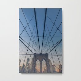 Nyc and Brooklyn Bridge at Nig Metal Print