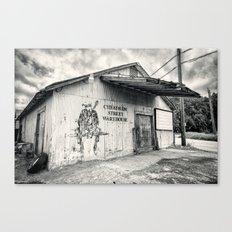 Black & White/Sepia-toned Photograph of Cheatham Street Warehouse, San Marcos, Texas Canvas Print