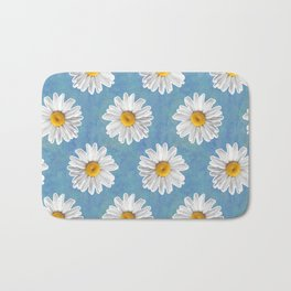 Daisy Blues - Daisy Pattern on Cornflower Blue Bath Mat